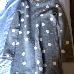 GIRLS Lacoste Grey Polka Dot Dress